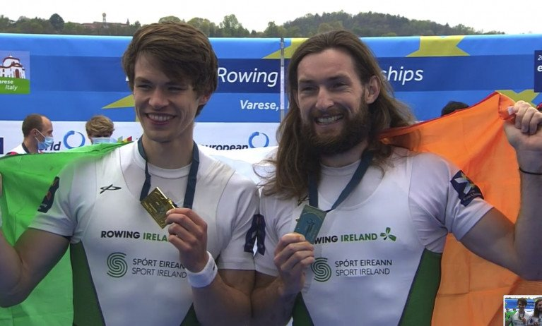 Fintan McCarthy and Paul O'Donovan with European gold today