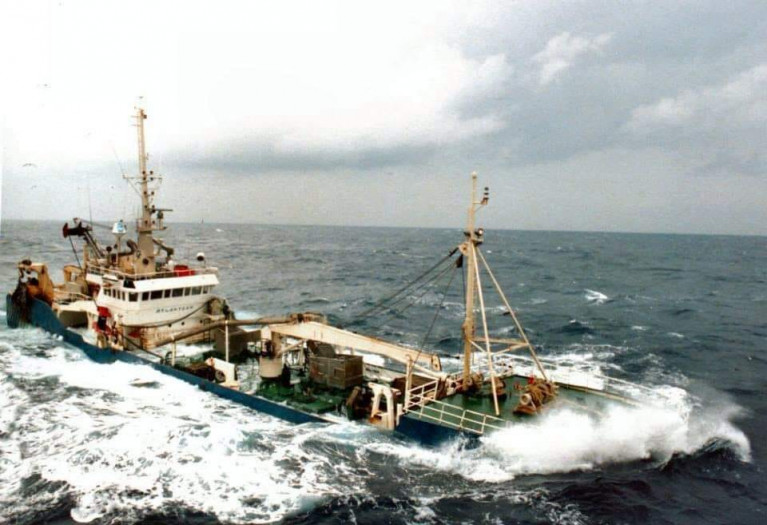 Deep sea trawler ploughs into heavy weather