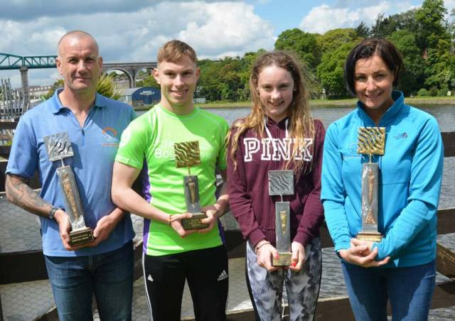 This year's Boyne Swim category winners: Husband-and-wife Tom Healy and Rachael Lee flank juniors Sean Black and Aoife Doran