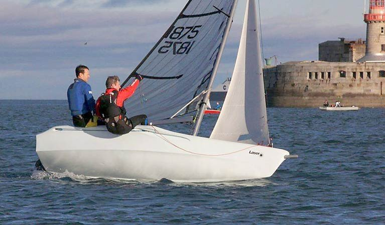 SID has been operating from Dun Laoghaire for more than 30 years after being founded by Glenans sailors. Here Paul ter Horst and Quentin Laurent race one of SID's Laser Vagos