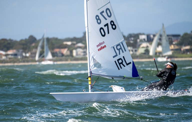 Annalise Murphy sailing in strong breeze at the Radial Worlds in Melbourne