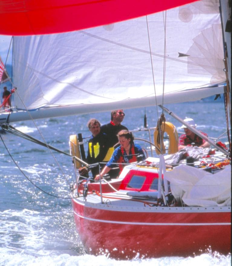 "The sort of days which will return ""when all this is past"". The Doug Peterson-designed Contessa 35 Witchcraft of Howth racing in ISORA Week 1991 in Howth"