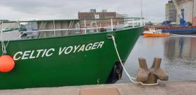 RV Celtic Explorer at the Port of Cork before departure