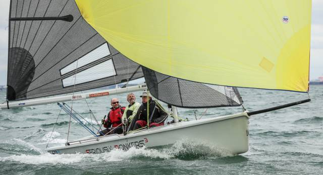The SB20 sportsboat 'Seriously Bonkers' sailed by Peter Lee. The SB20 Eastern Championships will sail this weekend at Howth Yacht Club