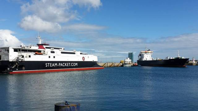 IOM Steam Packet's fast-ferry Manannan and chartered ro-ro freighter Arrow arriving in Douglas Harbour less than a year ago in September.