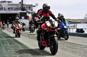 Motor cyclists disembark in Douglas from fastferry Manannan for the famous annual TT Races which took place recently. There has been an increase in initial bookings for the event in 2019.