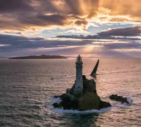 "The Fastnet Rock – ""Ireland's tear-drop"" - continues to be the turning point of the Rolex Fastnet Race on its new 2021 course to Cherbourg in France"