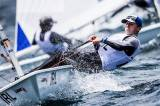 Royal Cork's Johnny Durcan competing in Auckland. The RCYC sailor had a fourth in race four in his 57–boat fleet