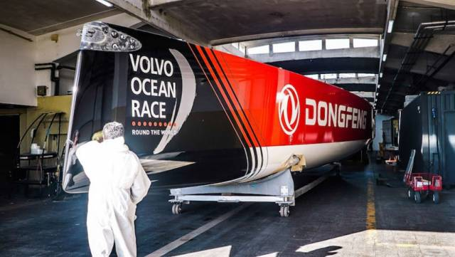 Dongfeng Race Team's refitted Volvo Ocean 65 leaves the workshop in its new livery