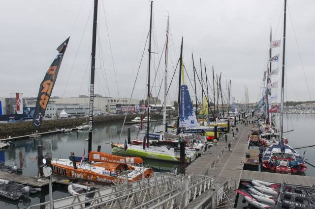 The first ever Irish entry in the race is pictured above second boat in on the port hand of the Vendee Globe pontoon.