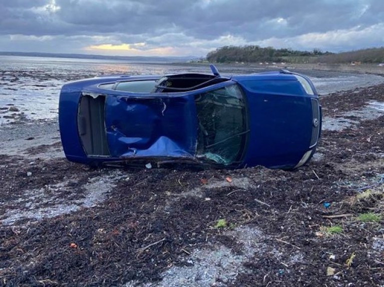 The car on the beach at Strangford Lough