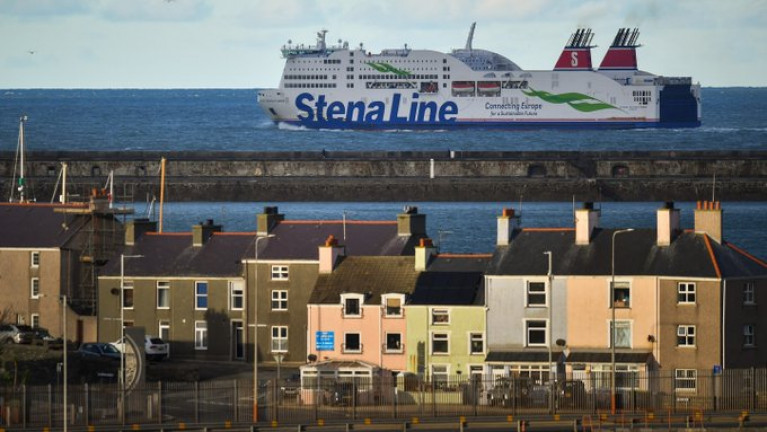 SUPPLY PROBLEMS: Stena Line temporarily cancels sailings on Dublin-Holyhead and Rosslare-Fishguard routes. Above: A ferry (Stena Adventurer) departing Holyhead, Wales for Dublin Port on January 1st. The operator is reviewing its Irish Sea schedules because of Brexit and Covid restrictions.