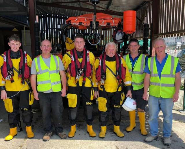 The Union Hall lifeboat and shore crew following the call out