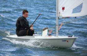 U21–World Bronze medalist Liam Glynn leads the Laser Nationals in Lough Derg
