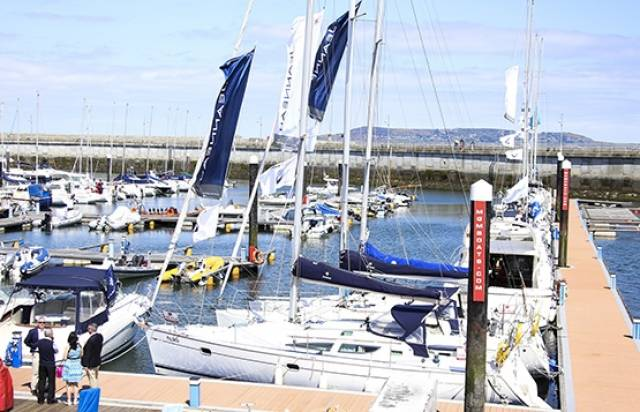 A range of power and sailcraft displayed by MGM Boats at Dun Laoghaire marina yesterday