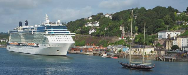 Celebrity Eclipse berthed at Cobh while the Asgard (see yesterday's Cork Harbour News) heads passed the scenic coastal town.