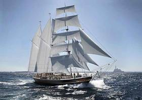 The Irish Atlantic Youth Trust's proposals are for a 40 metre all-Ireland sailing training barquentine as this artist's impression shows