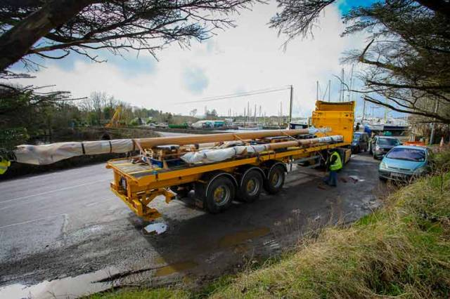 Journey's end – the ketch Ilen's new spars arrive from Limerick at Oldcourt in West Cork