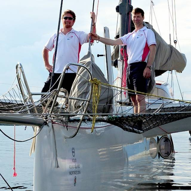 Ireland's only multihull entry in the 2016 Round Ireland Race is skippered by Hugo Karlsson-Smythe and crewed by Bowen Ormsby