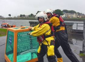 The RNLI's tonne of water at Spanish Arch in Galway city