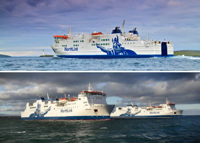 The trio of ferries that CMAL are involved in a deal with the Northern Isles service operated by NorthLink's network of routes between Scotland, Orkney and the Shetland Isles in the North Sea.  In the top photo is MV Hamnavoe: Scrabster-Stromness (Orkney) and below larger half-sisters MV Hjaltland and MV Hrossey that serve the main longer Aberdeen-Orkney-Shetland routes.