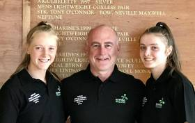 Ciara Browne and Ciara Moynihan of the Ireland Junior Double with coach Ray Morrison