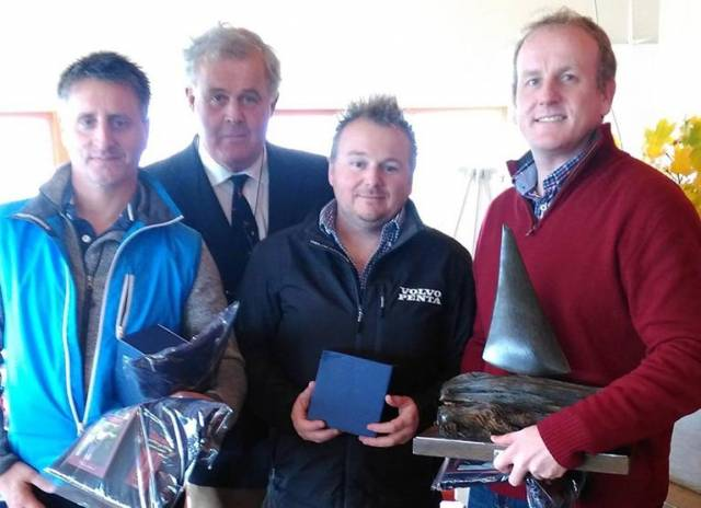 SB20 Midlands winners (from left)  Owen Laverty, LDYC Commodore David Meredith, Davy Taylor and Michael O'Connor