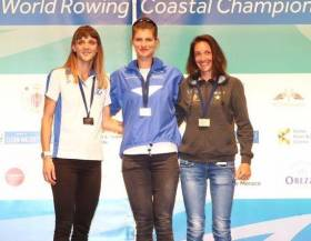 Monika Dukarska with silver medallist Alexandra Tsiavou and Edwig Alfred (bronze) at the World Coastal Championships.