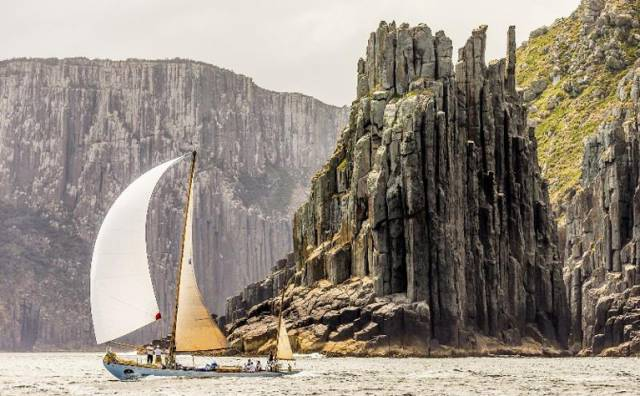 The 1931-built Dorade at Tasman Island, navigated by Adrienne Cahalane to second in Class 4 in the Rolex Sydney-Hobart Race