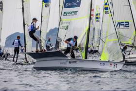 Howth's Robert Dickson and Sean Waddilove competing in the first races of the 49er class at the World Cup Series in Enoshima
