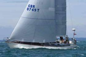 Paul Kavanagh's classic Swan 44 CoOperation Ireland (aka Pomeroy Swan) may be sailing in the two-handed division, but she currently leads the Volvo Round Ireland Race overall by three minutes from Stephen Quinn's J/97 Lambay Rules