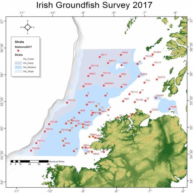 Map of the approximate haul locations in this year's Irish Groundfish Survey off the North West Coast