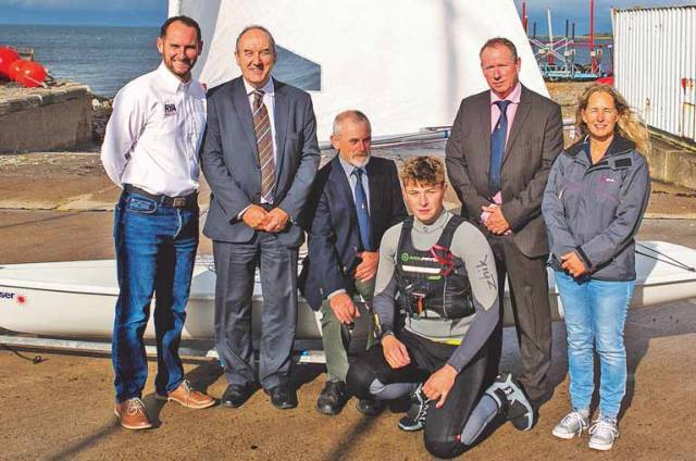 Launching the Icebreaker series from (left to right): Richard Honeyford, Chief Operating Officer, RYA NI, sponsor Michael Keenan of Danske Bank, Pete McDowell, Commodore BYC, Dan McCaughey, Laser Sailor, Aidan Pounder Vice Commodore BYC and Charlie Winton, Ladies Captain, BYC.