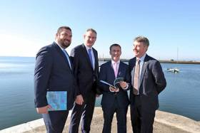 Daniel Norton of SEMRU, Ministers of State Damien English and Sean Kyne, and Marine Institute CEO Dr Peter Heffernan at the launch of SEMRU's latest bi-annual report