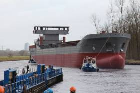 The shell of newbuild Scot Navigator just after launching. The cargoship will have a 5,500 cubic capacity for timber products and is due for delivery in May.