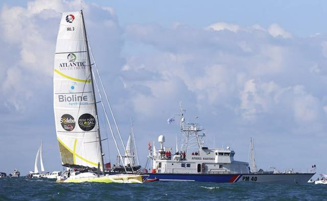 Enda O'Coineen and Kilcullen Voyager before today's start off Les Sables d'Olonne, France in the Vendee Globe race