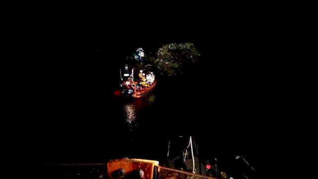 The lifeboat crew observed that the man was trapped in an isolated area among large boulders