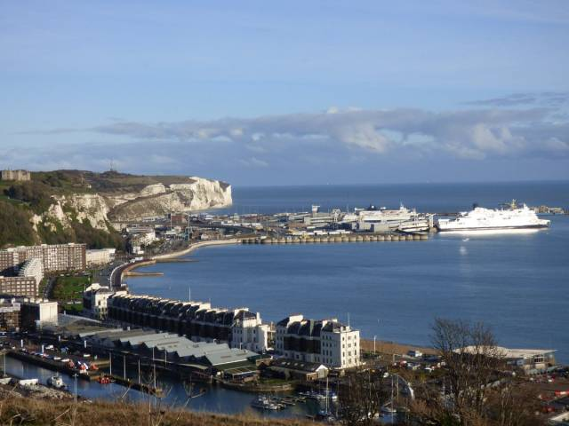 Ferries from DFDS and P&O docked in the Port of Dover, the UK's biggest & busiest ro-ro ferryport.