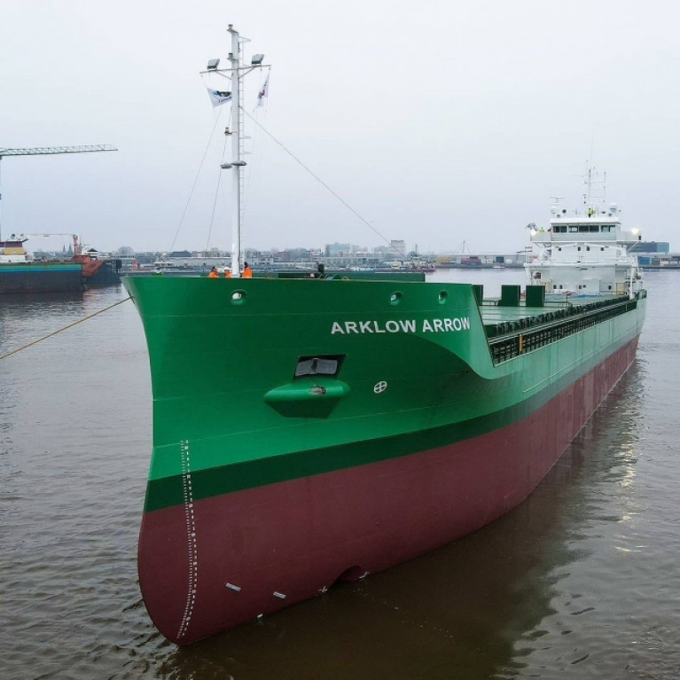Latest development of the new Arklow Arrow, a 8,500dwt trader, which is carrying out a series of shipbuilders sea trials in Wadden Sea off the Dutch and German coast. AFLOAT adds in tracking some other ASL ships, this led to the classic cruiseship (former liner) Marco Polo which served cruisegoers directly from Belfast and regularly called  to Irish Ports - has gone to the breakers!