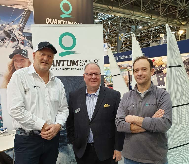 Mark Mansfield (left) with Mark Chellis (centre), Global Director Marketting for Quantum Sails international, and Yannick Lemonnier, at Dusseldorf Boat show last week.