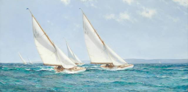 'Racing for the Corinthian Challenge Cup on Lough Derg' by Montague Dawson, which was sold at auction in London on 1 May