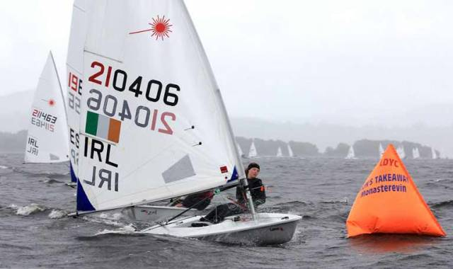Radial Champion Aisling Keller leading a race at Lough Derg
