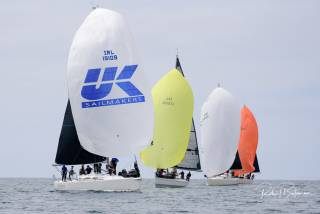 Howth Yacht Club's 'Outrajeous' (Richard Colwell and Johnny Murphy) leads the fleet downwind to overall victory in Class One of the Sovereign's Cup
