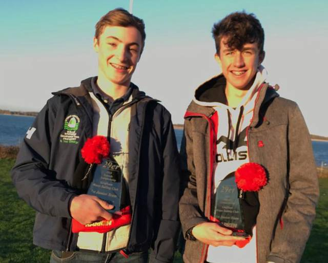 Nathan Van Steenberge (left) and Rian McDonnell Geraghty at the UK 29er Inland Champs
