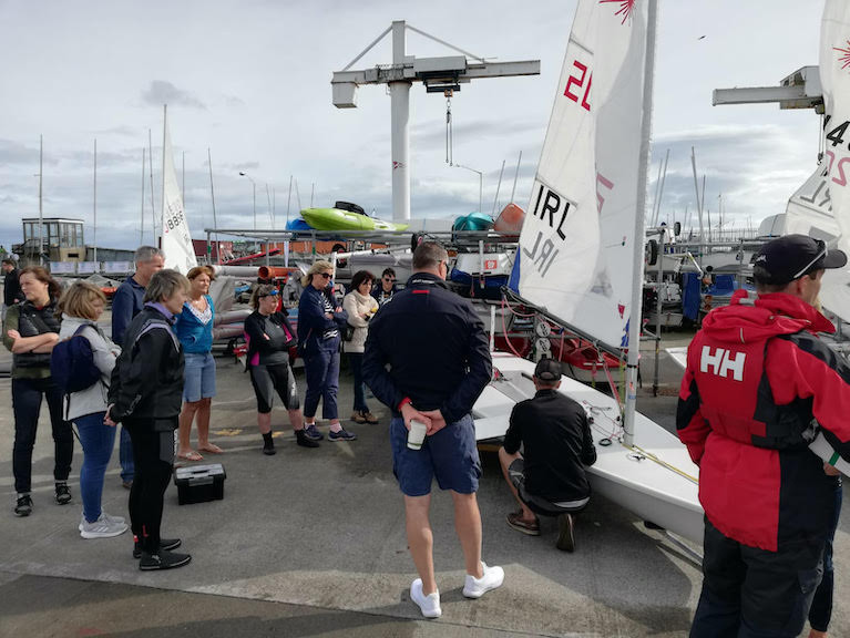 Laser 'kindegarten' briefing at the Royal St. George Yacht Club in Dun Laoghaire Harbour