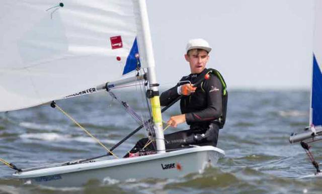 Conor Quinn racing in Medemblik, in August 2017 at the Laser Radial Youth World Championships