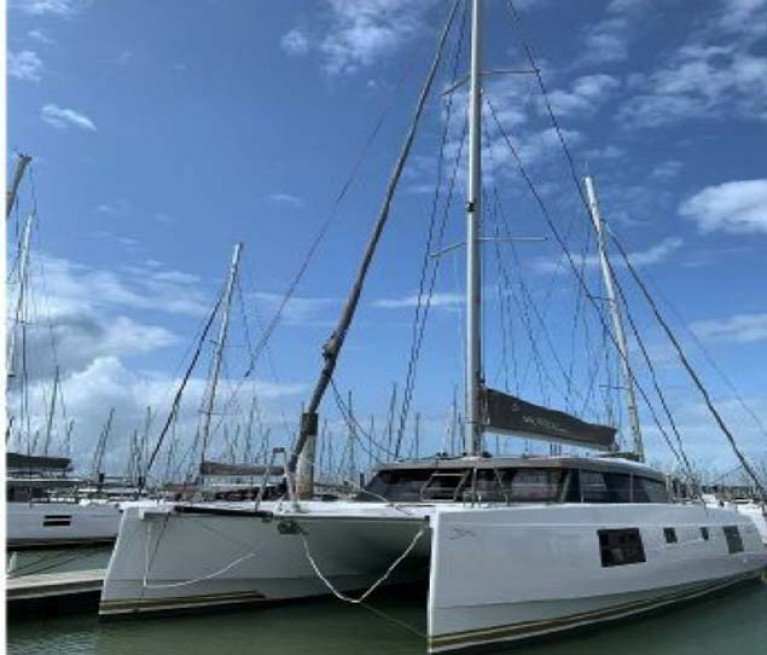 Nautitech 46 Open berthed at Hamble in the UK