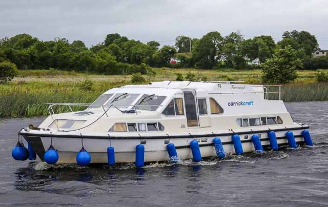 A Carrickcraft 'Fermanagh' Class hire–cruiser at Carrick–on–Shannon in County Leitrim. The Irish firm operate 119 boats on the River Shannon at Carrick-on-Shannon and Banagher and on Lough Erne from Bellanaleck, outside Enniskillen