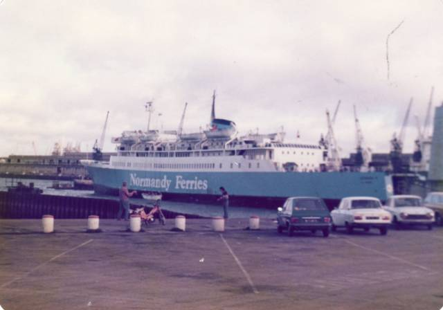 In a troika involving Irish Shipping Ltd, M.V. Leopard (originally in all white livery) began the first ever direct Ireland-mainland continental Europe passenger/car ferry service 50 years ago this month between Rosslare and Le Havre, France. In addition to running later in the winter of 1968 a UK-Iberia-Africa service. Above: the 6,000 tonnes French flagged ferry is seen in 1979 with pale blue colours of P&O Normandy Ferries which acquired the ship three years previously and still operated on the English Channel. Before the ship left northern Europe, she spent a stint on the North Channel for Townsend Thoresen.