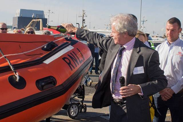 Seymour Cresswell names the new lifeboat at a ceremony in Howth yesterday